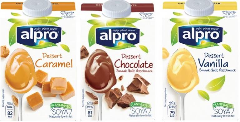 Lactosevrije vla dan wel dessert van Alpro in een nieuwe verpakking